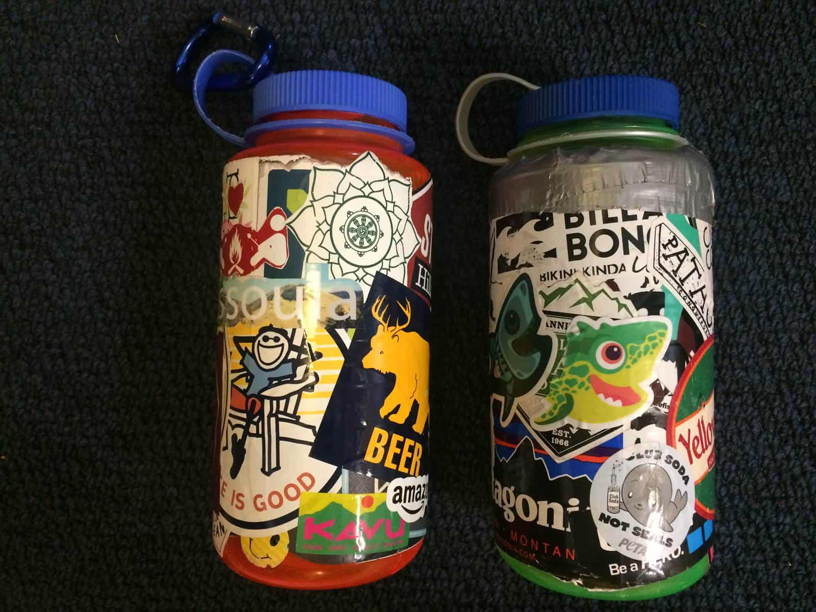 Sticker layered water bottles