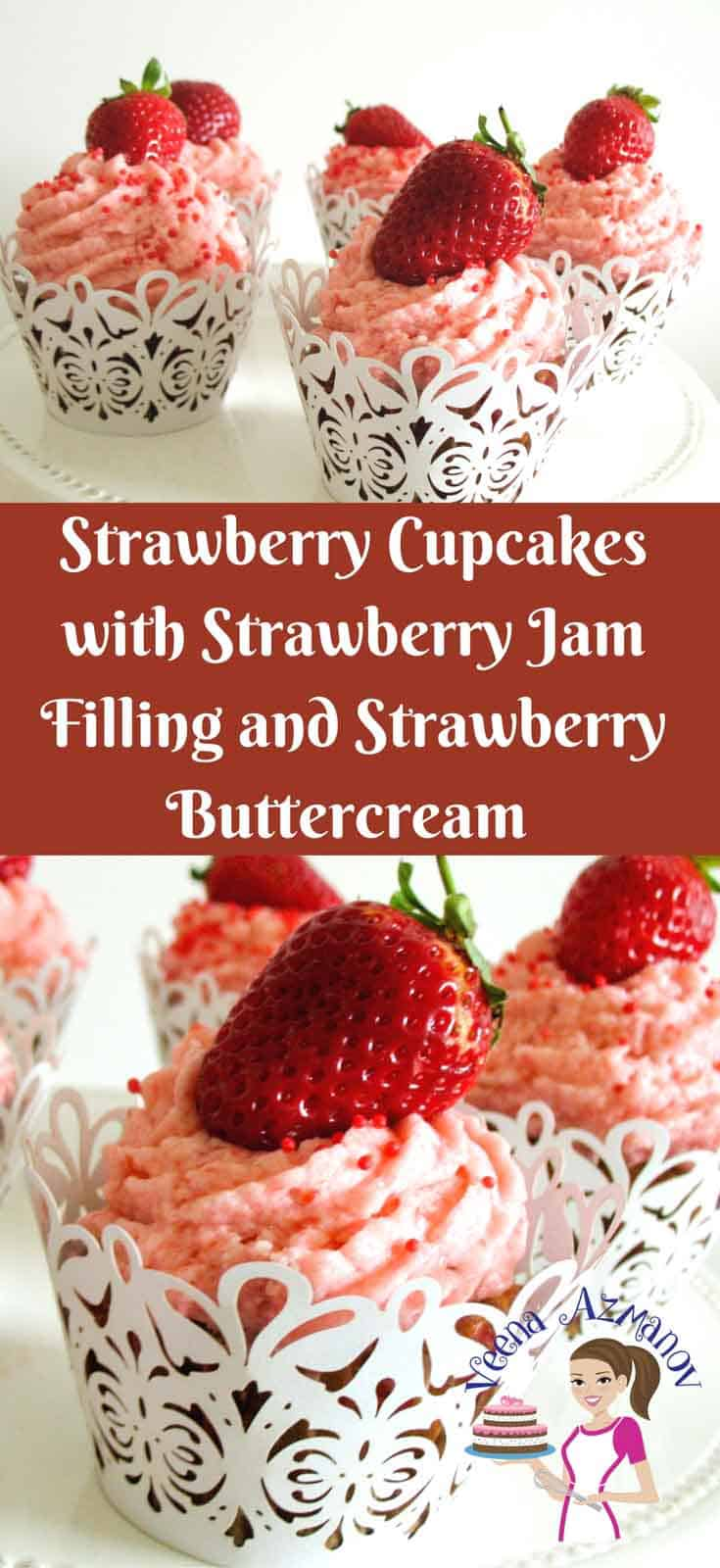 Strawberry cupcakes with strawberry jam filling and strawberry icing