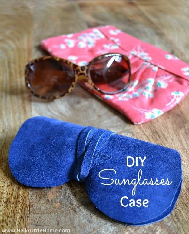 Suede glasses shaped sunglasses case