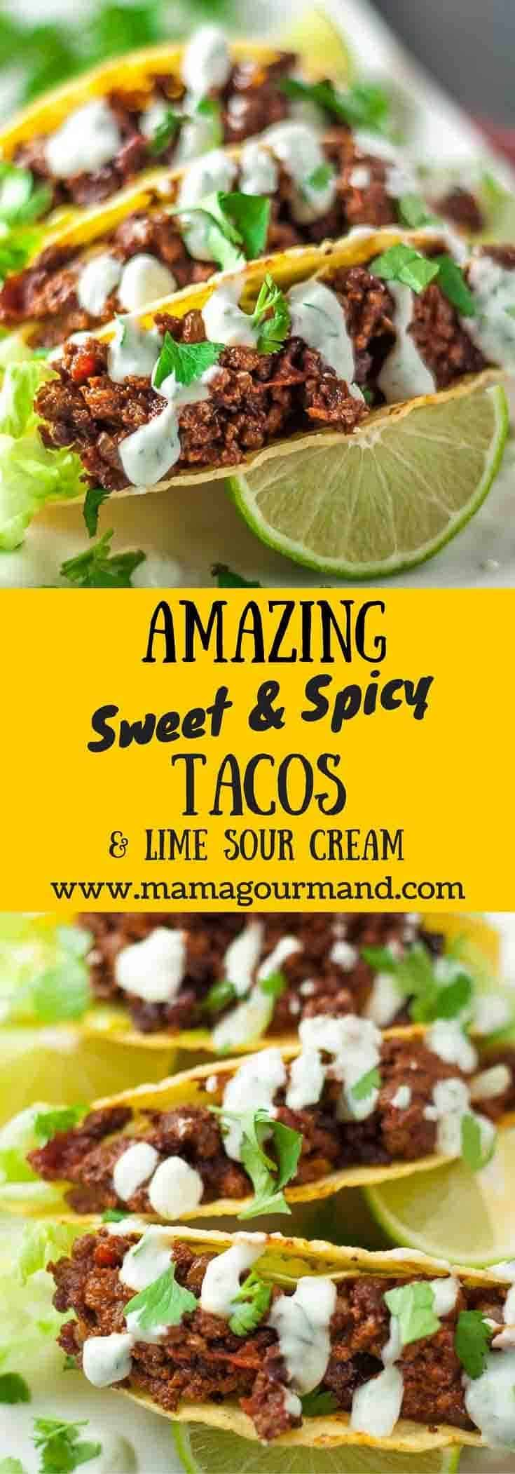 Sweet and spicy lime and sour cream tacos