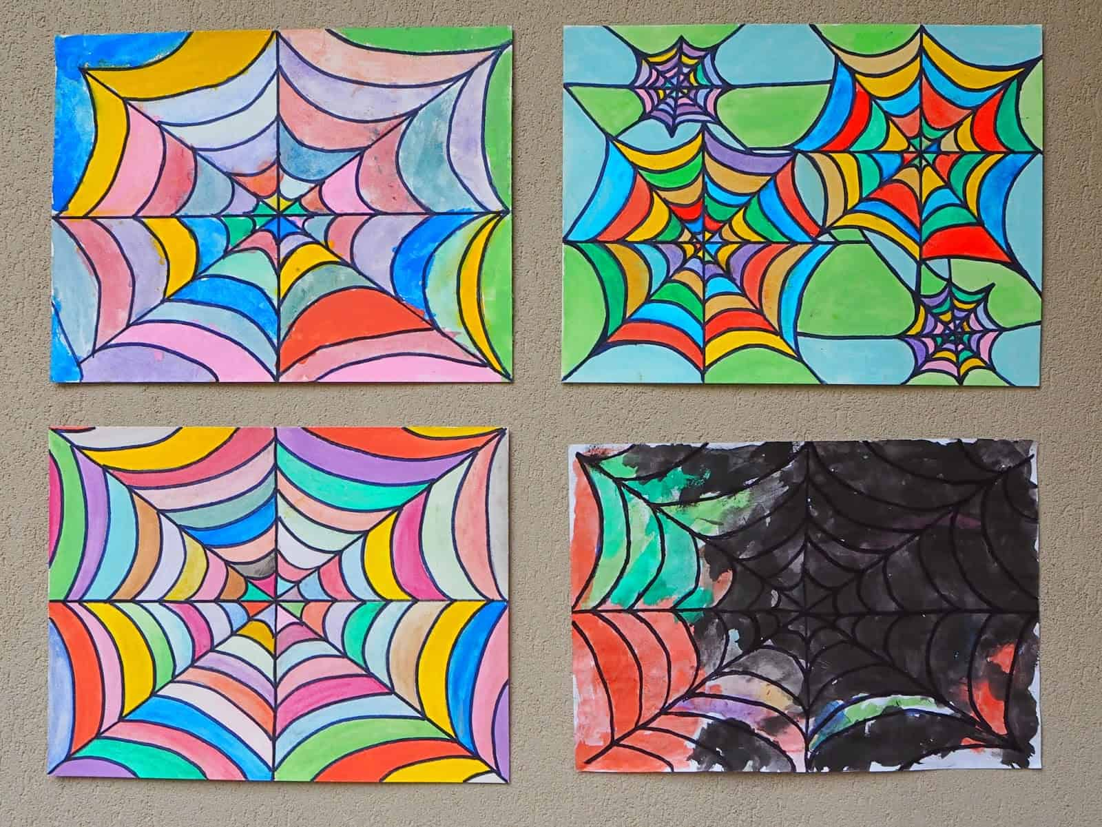 Technicolour spider web drawings