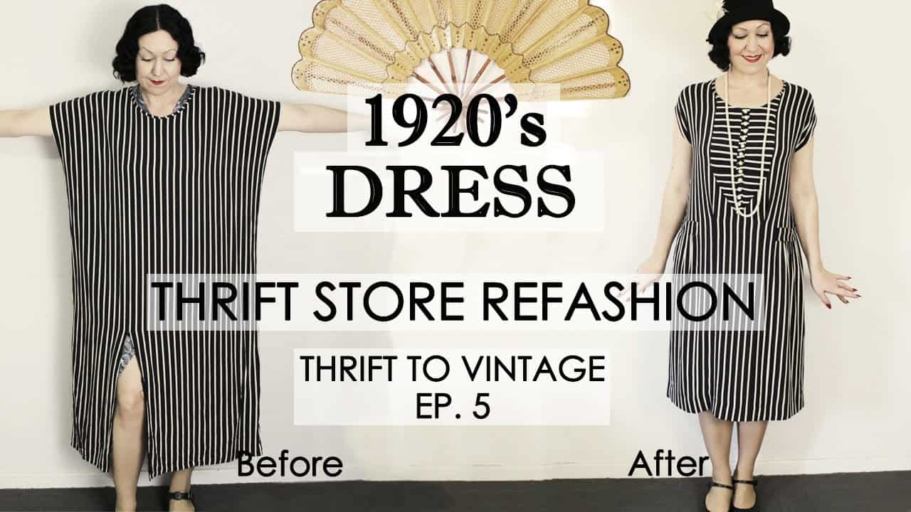 Thrift dress to vintage inspired 20s dress