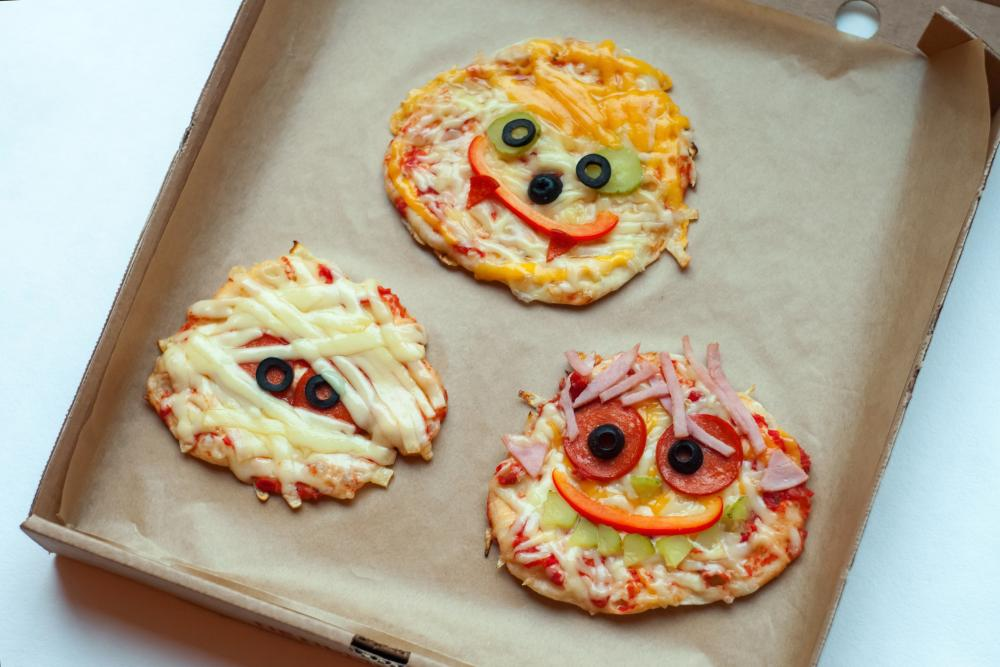 Tiny pizza monsters party appetizers