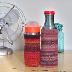 Upcycled sweater water bottle cozy