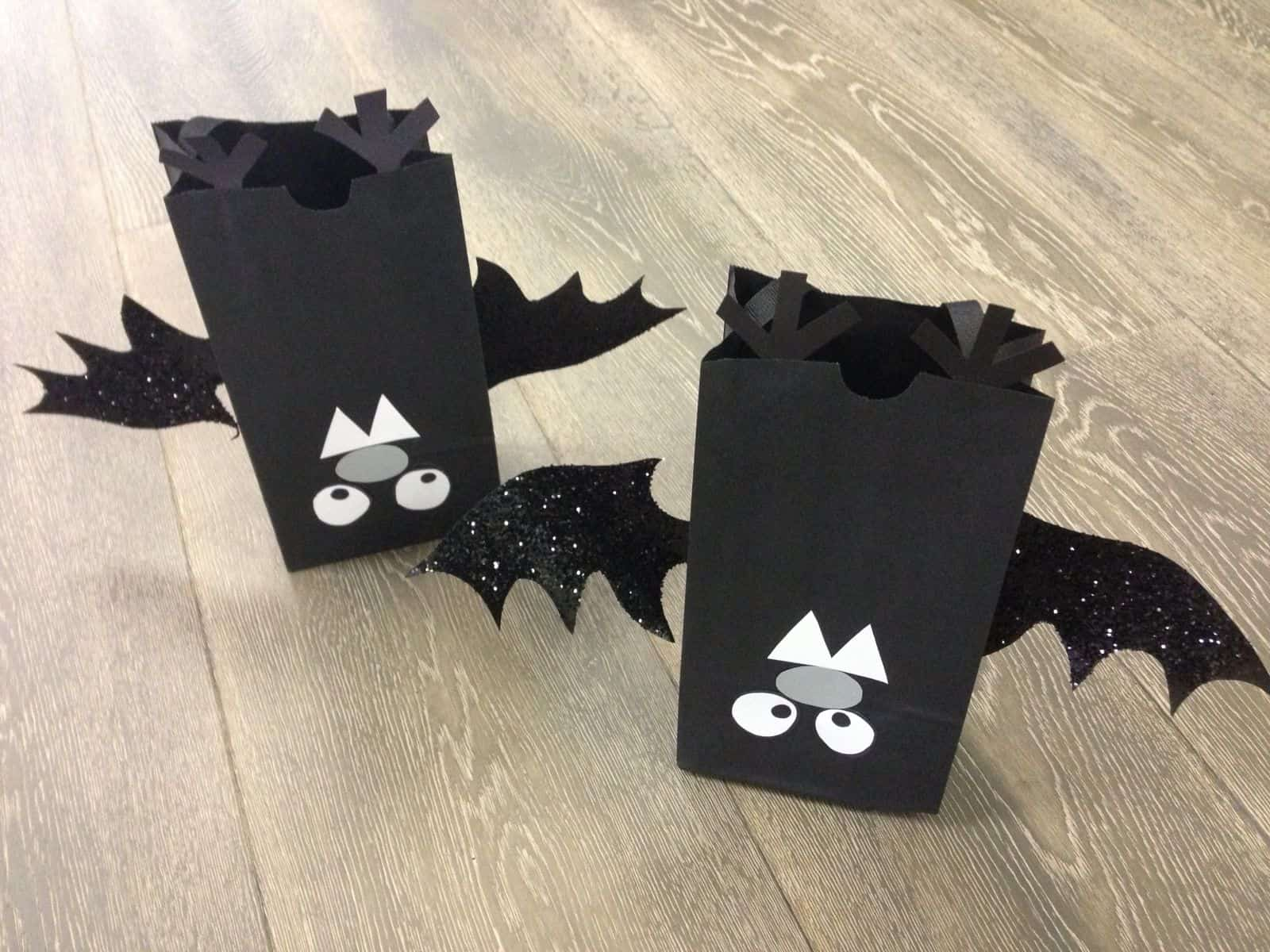 Upside down bat candy bags