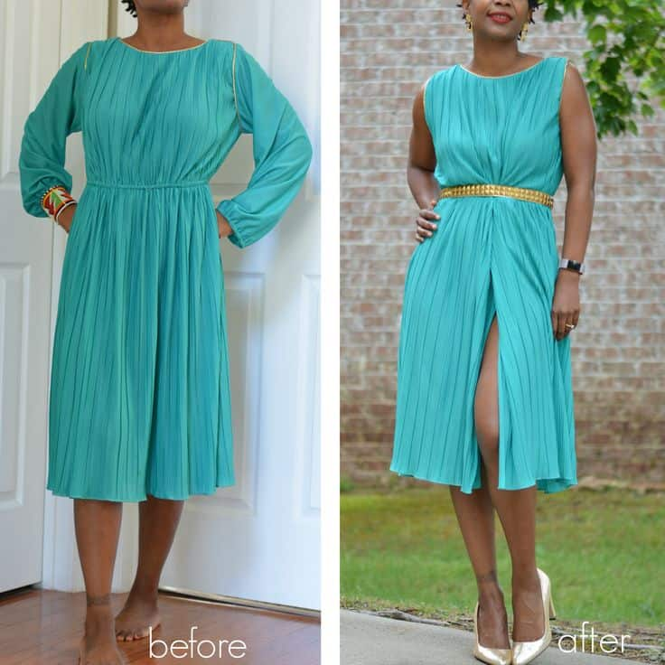 Vintage dress to modern sleeveless dress
