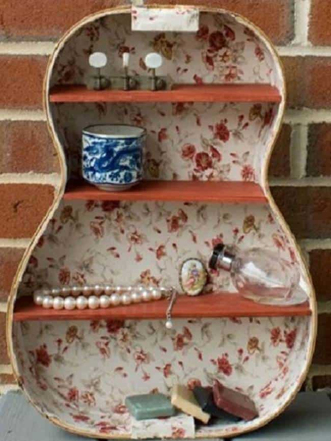 Vintage unspired floral guitar shelf