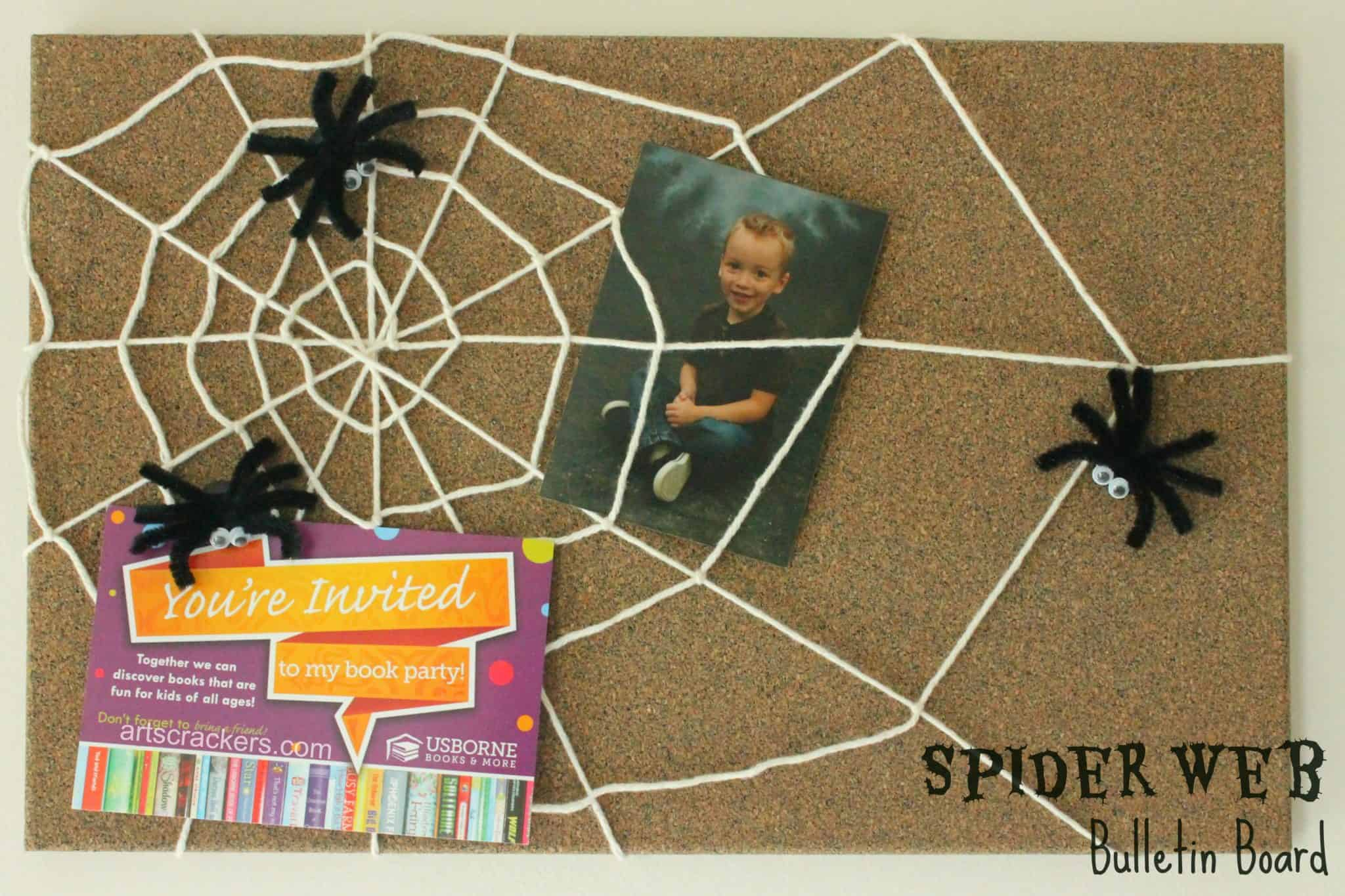 Yarn spider web bulletin board
