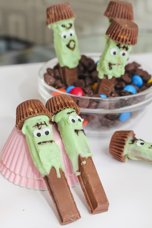 Zombie shaped chocolate bars kid food ideas for halloween