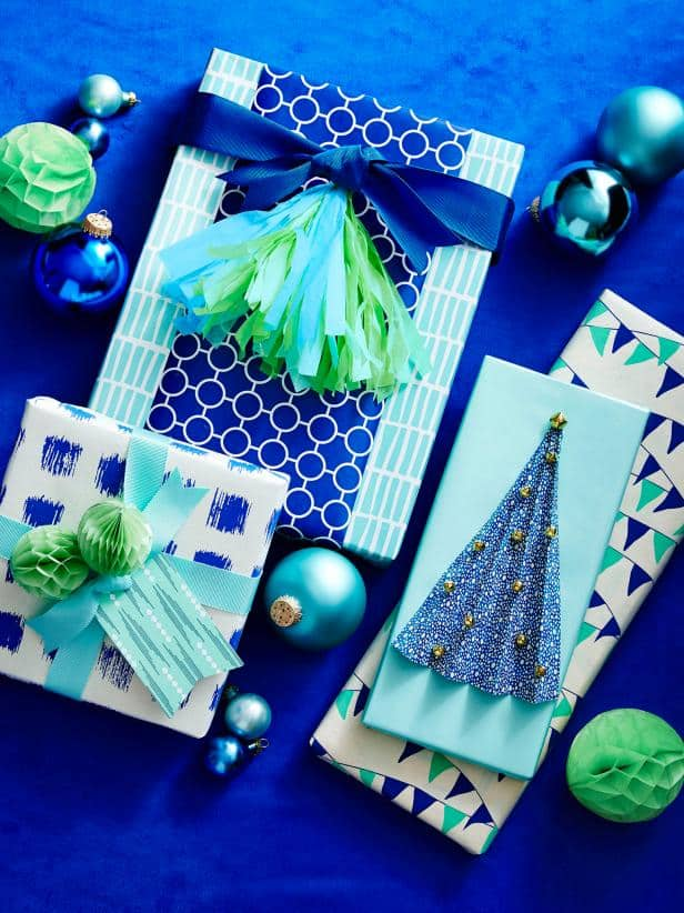 Blue and green christmas wrapping