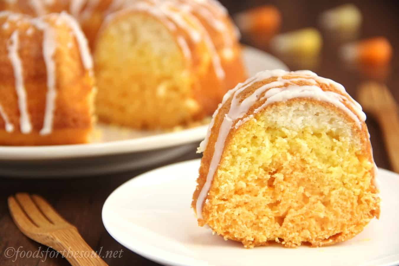 Citrus candy corn bundt cake