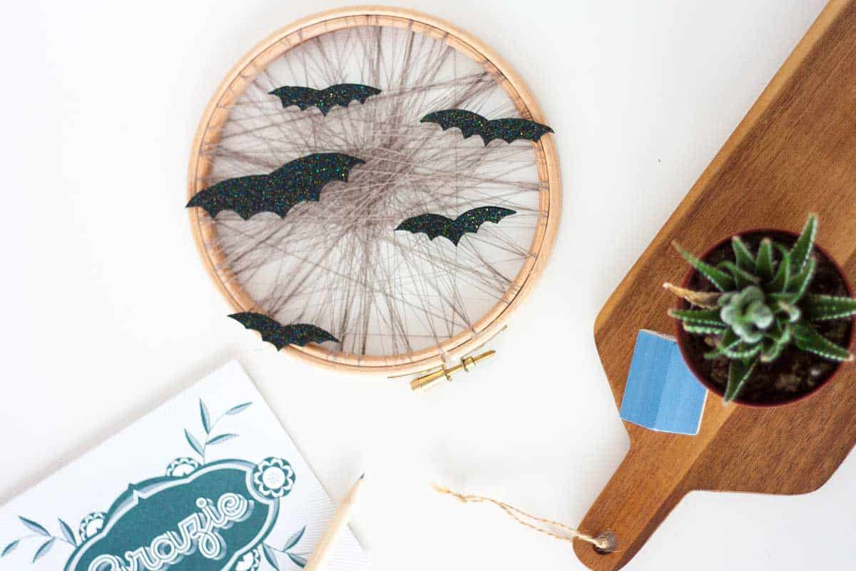 Cute bat halloween home decor display wreath set1