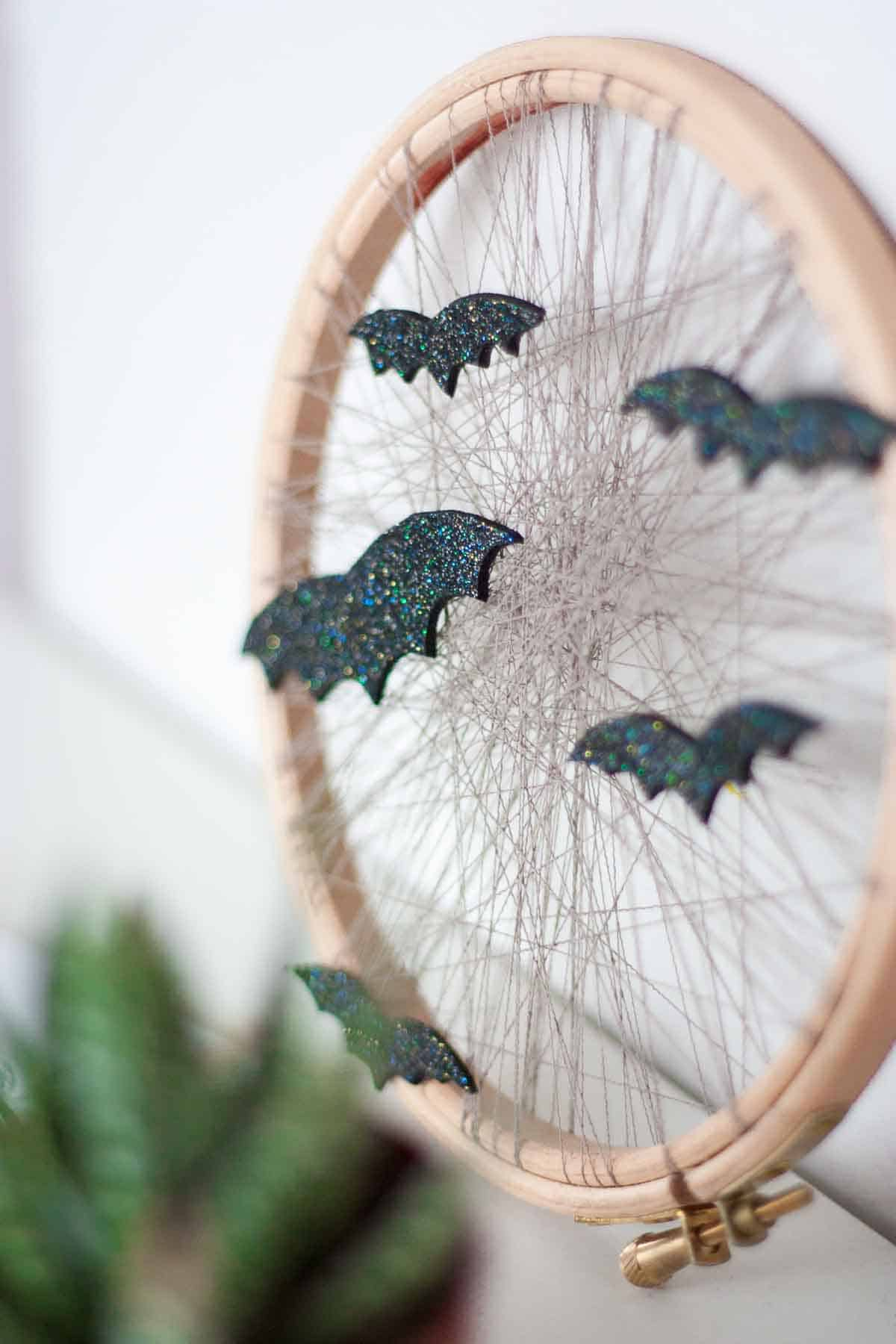 Cute bat halloween home decor display wreath set2