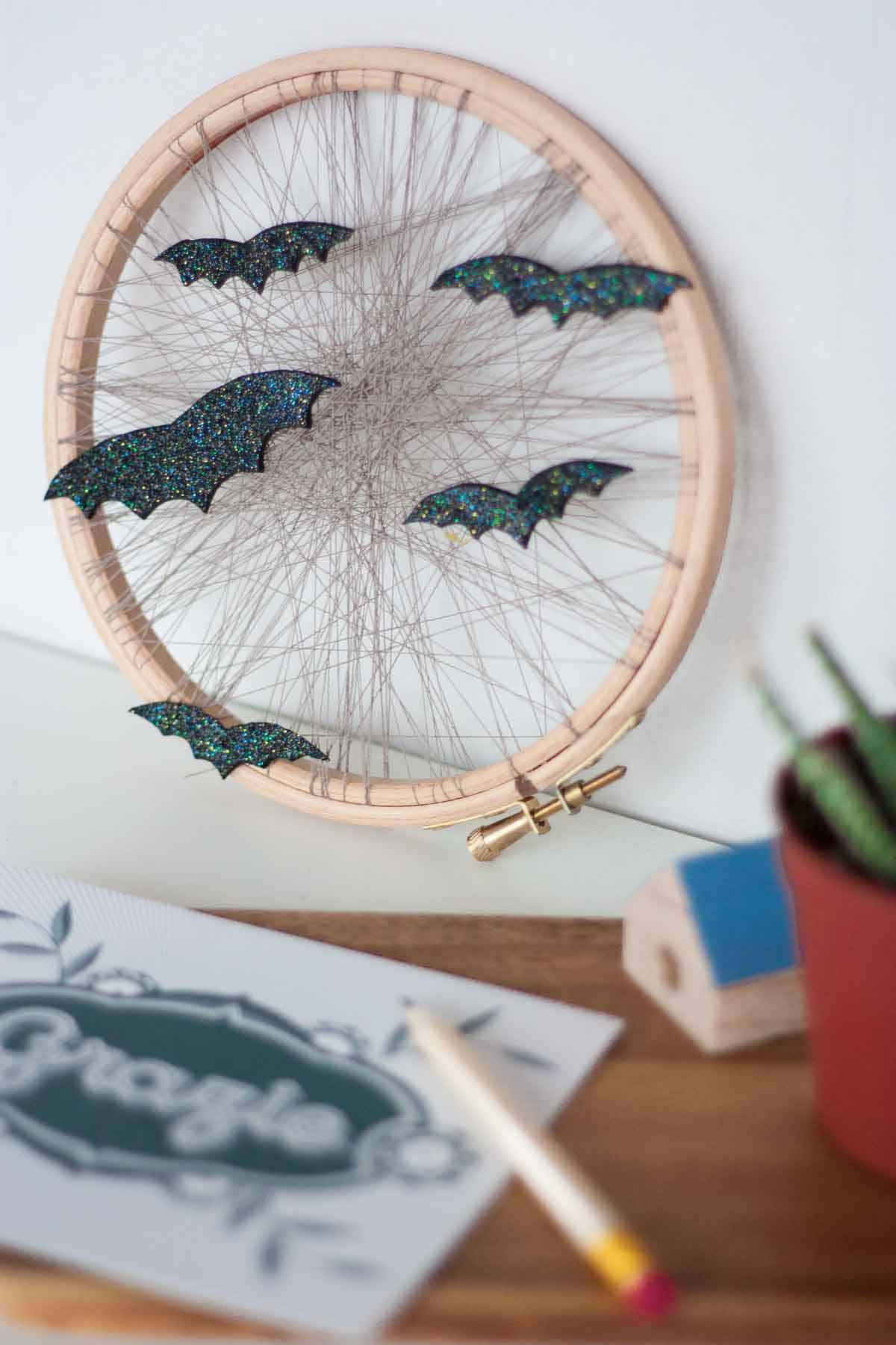 Cute bat halloween home decor display wreath set4
