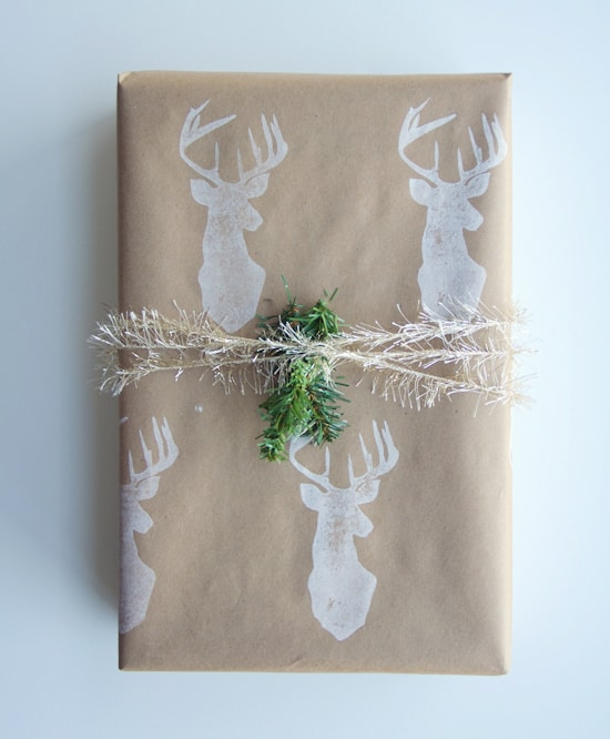 Deer stamped christmas wrapping paper