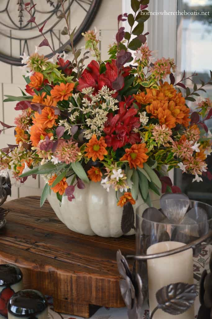 Diy blooming pumpkin centerpiece