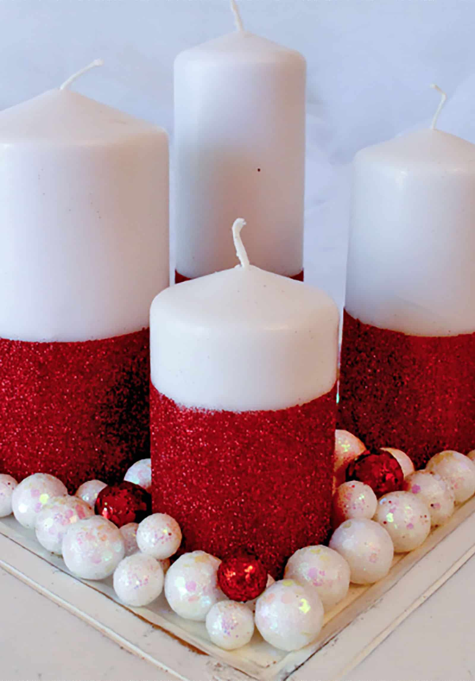 Diy christmas glitter candles