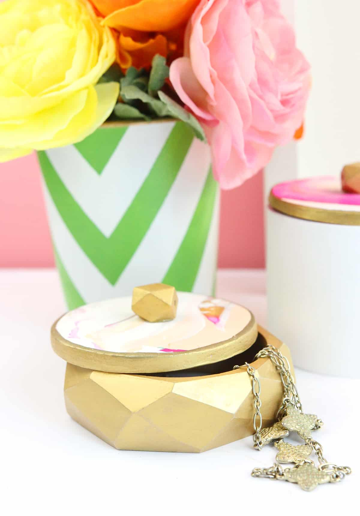 Diy clay and wood jewelry box