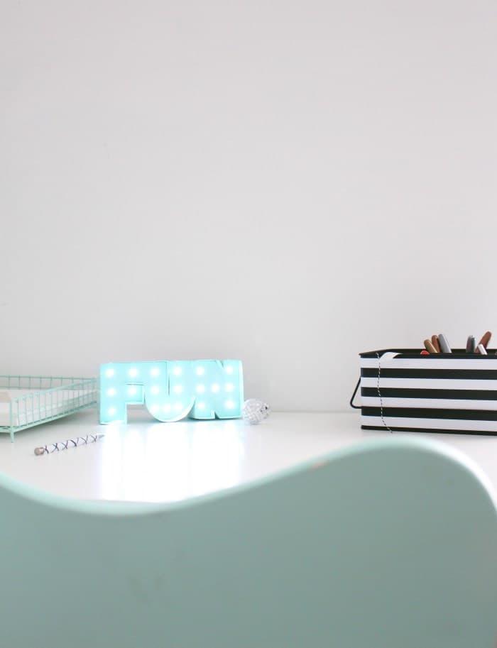 Diy desk marquee