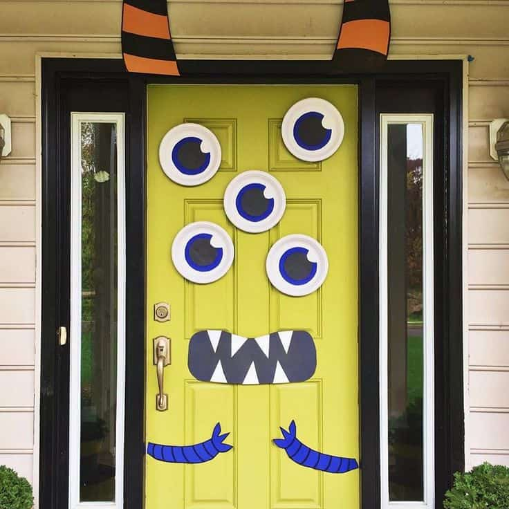 Diy multi eyed monster door for halloween