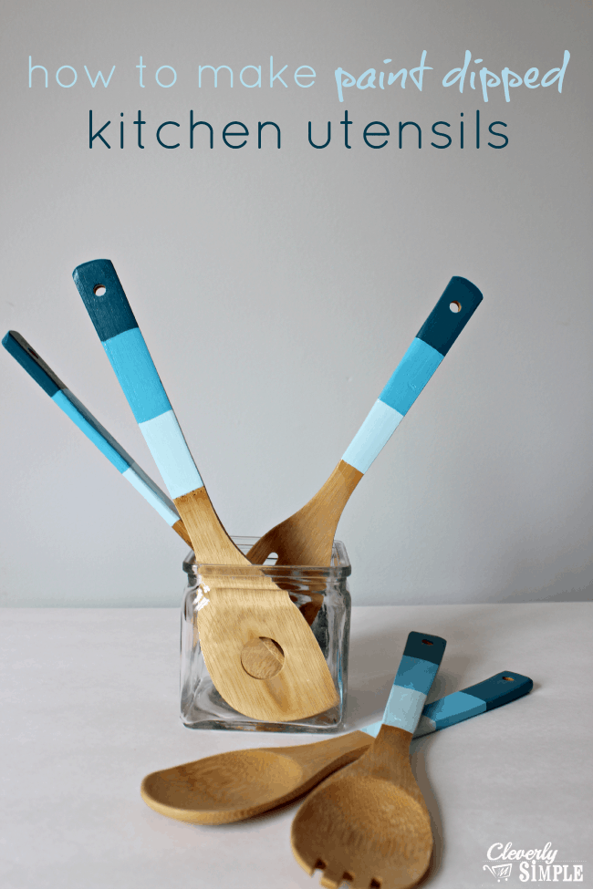 Diy paint dipped kitchen utensils