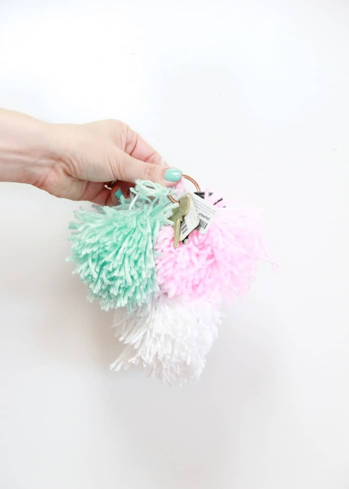 Diy pom pom key chains