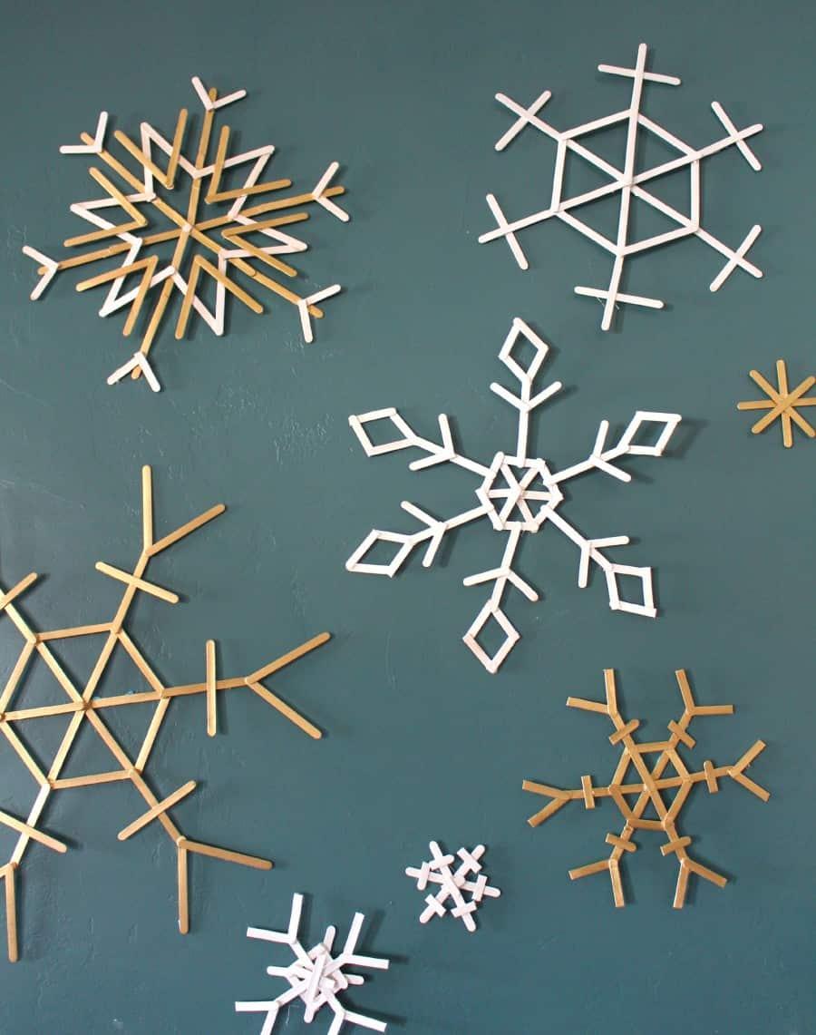 Diy popsicle snowflakes
