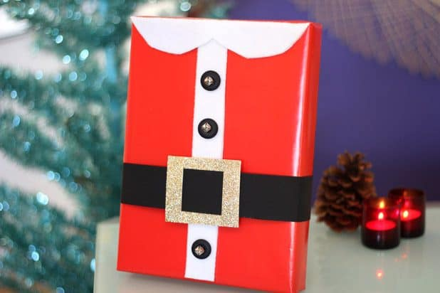 Diy santa's suit gift wrap