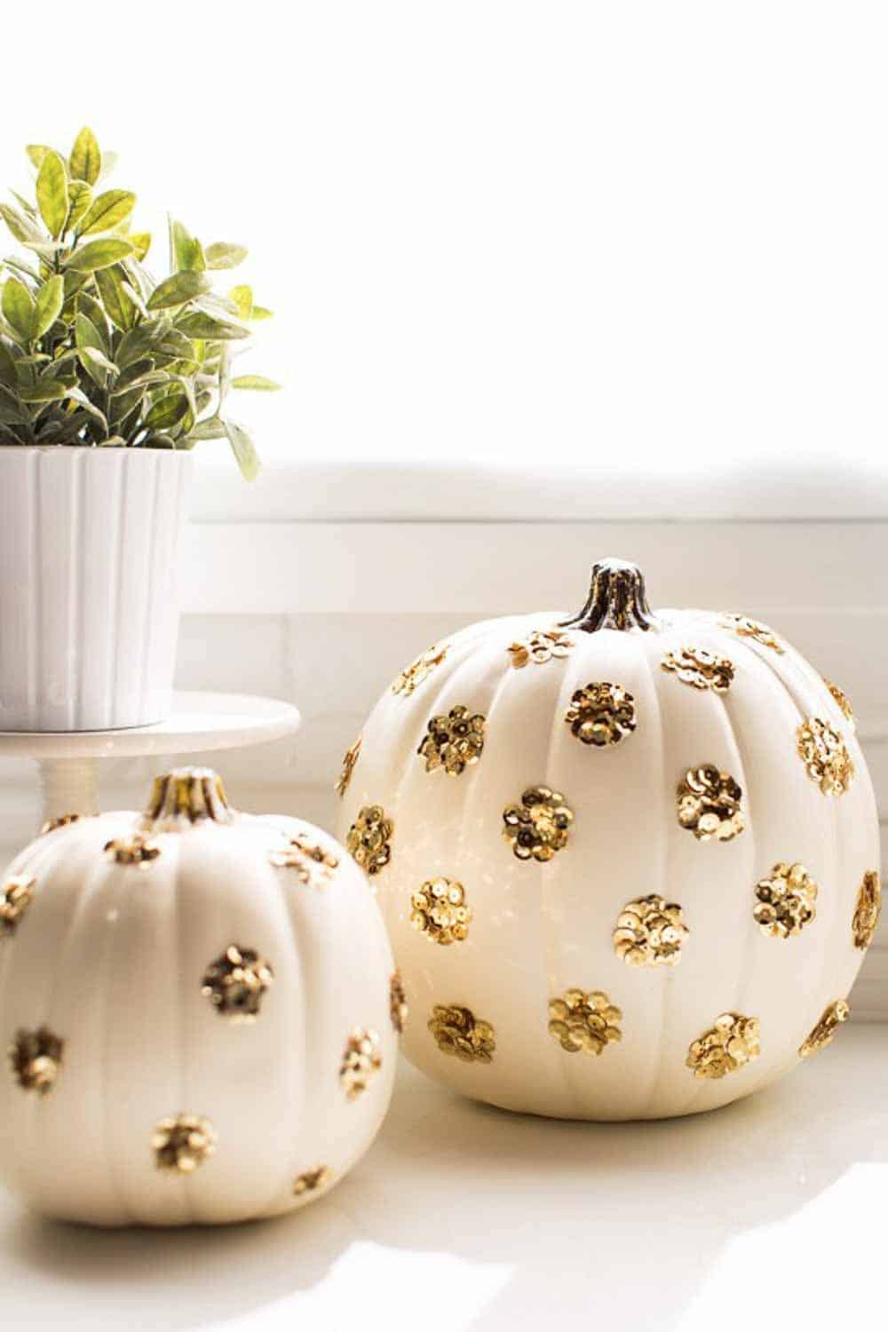 Diy sequins dot pumpkins