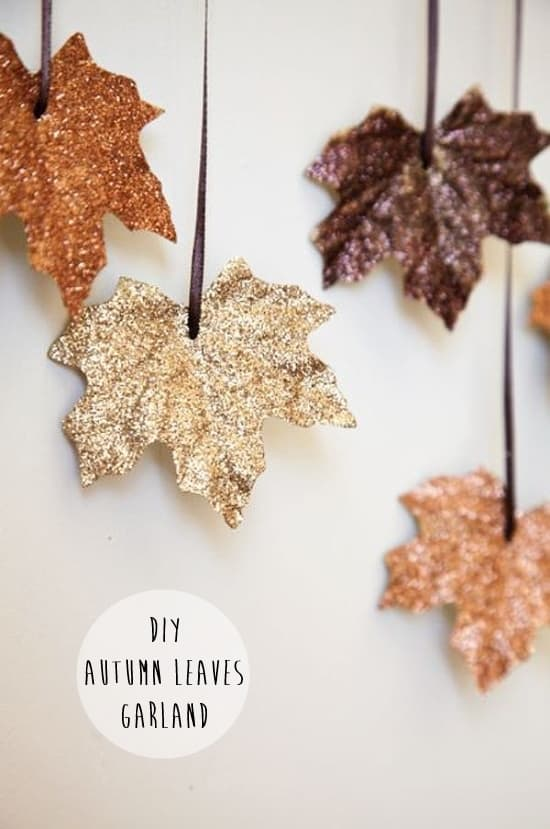 Diy sparkly leaf garland