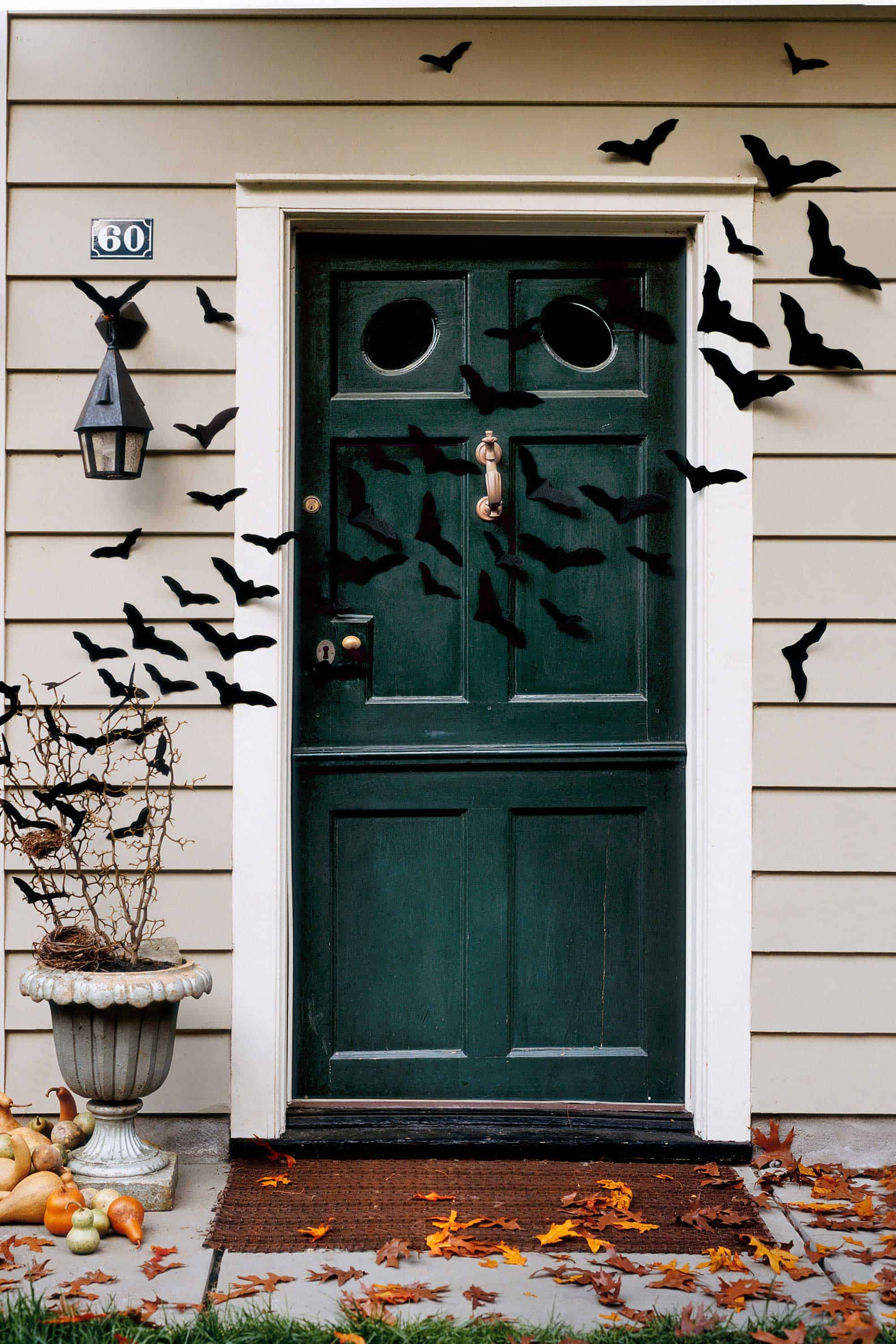 Diy swarming bat halloween door