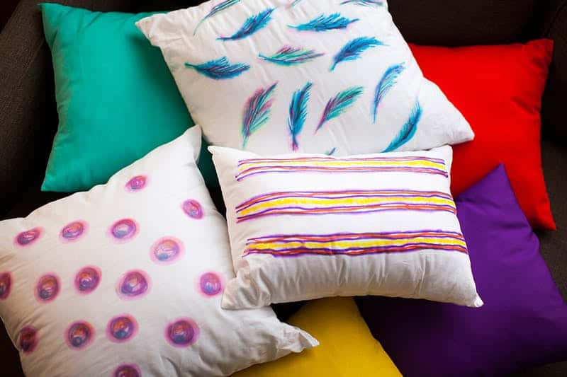 Diy watercolor sharpie pillows