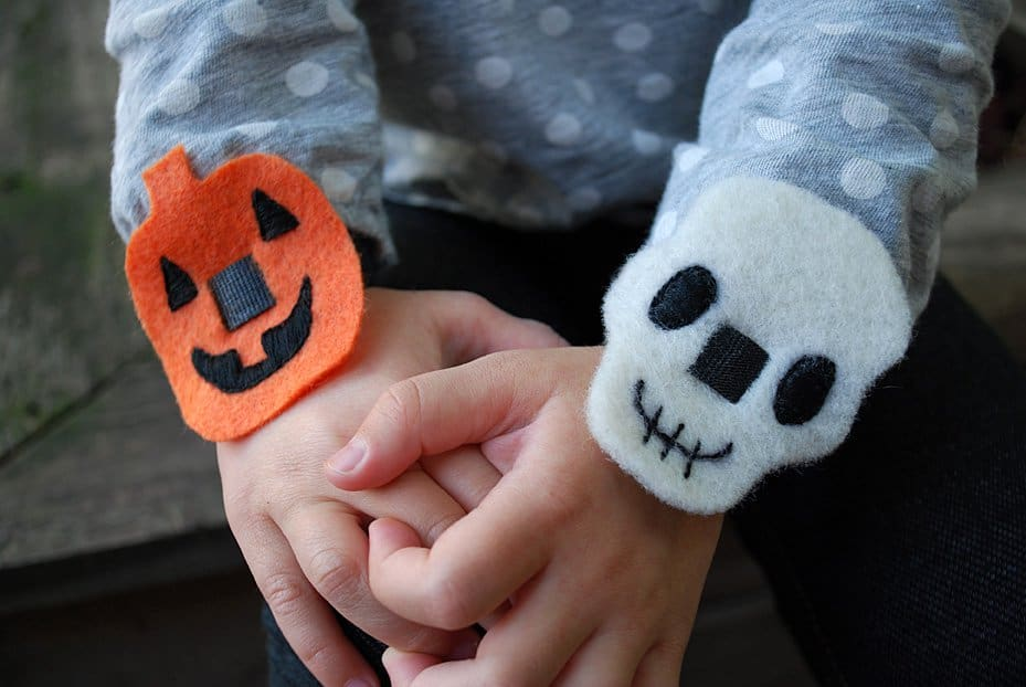 Easy halloween no sew bracelets pumpkins and skulls