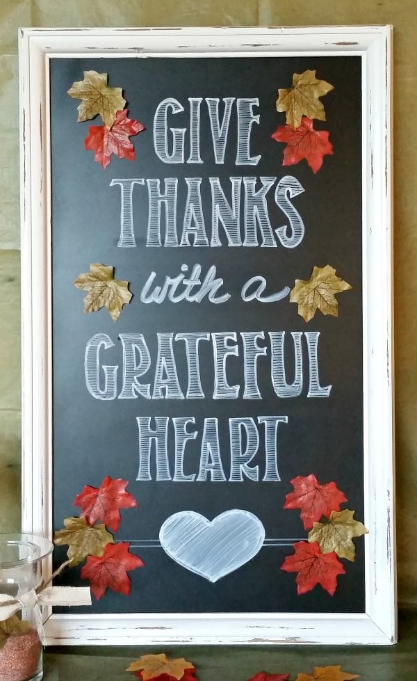Give thanks chalkboard sign diy