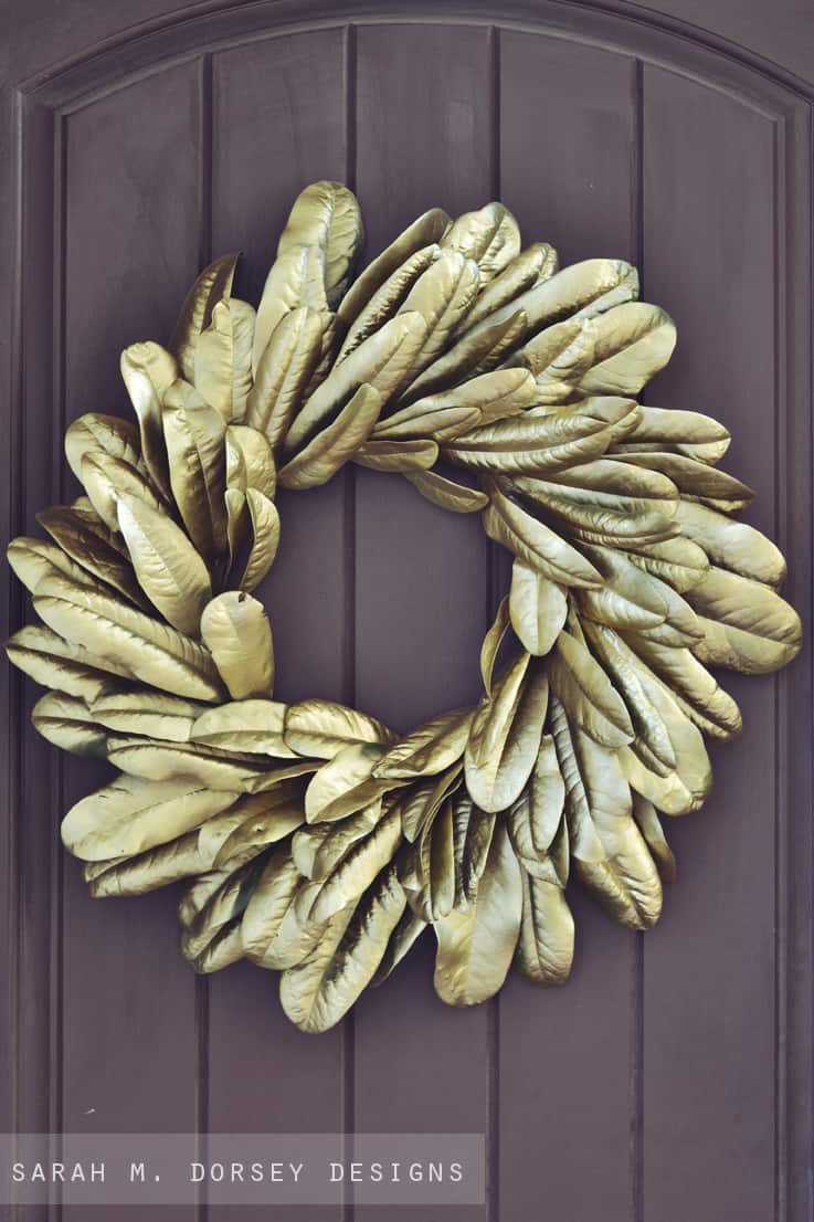Gold magnolia leaf wreath diy