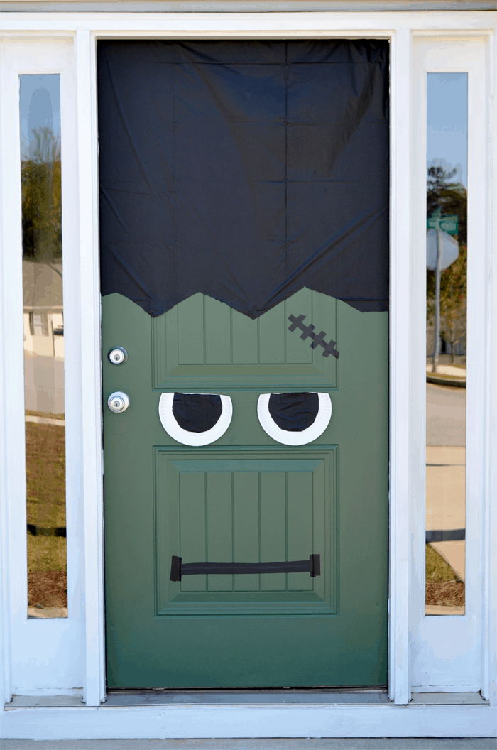 Halloween frankenstein door diy