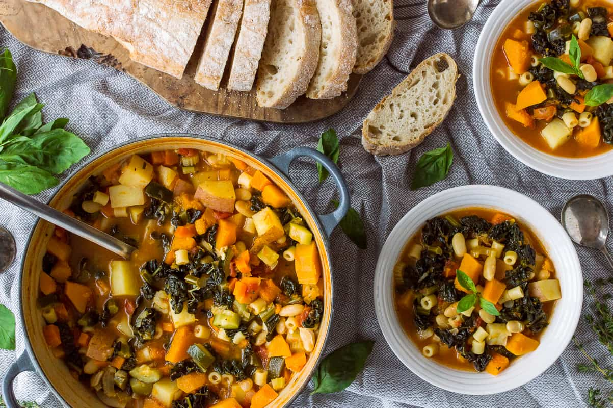 Autumn minestrone soup - a hearty, filling, vegan soup that is perfect for the colder months.