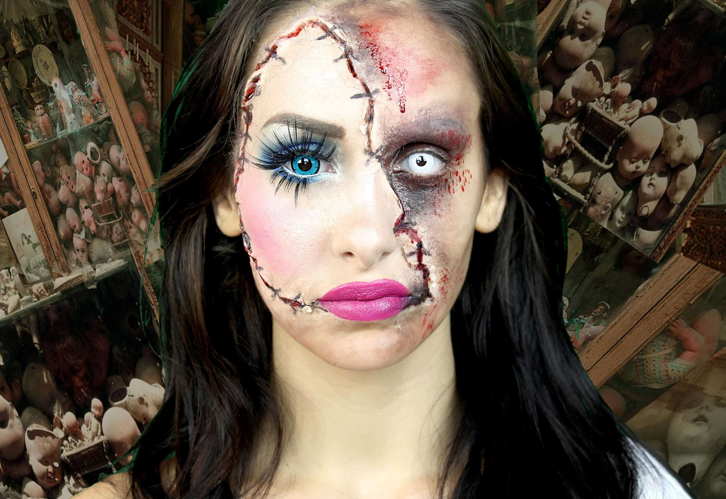 Horror doll halloween makeup tutorial