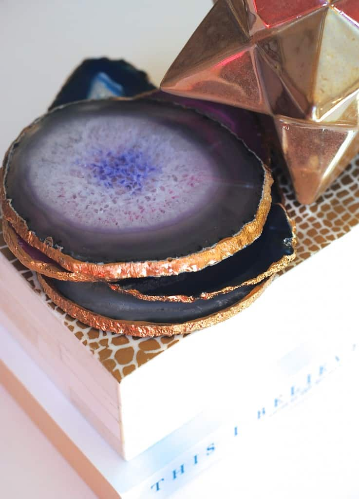 How make diy gilded gold edged agate coasters set 737x1024