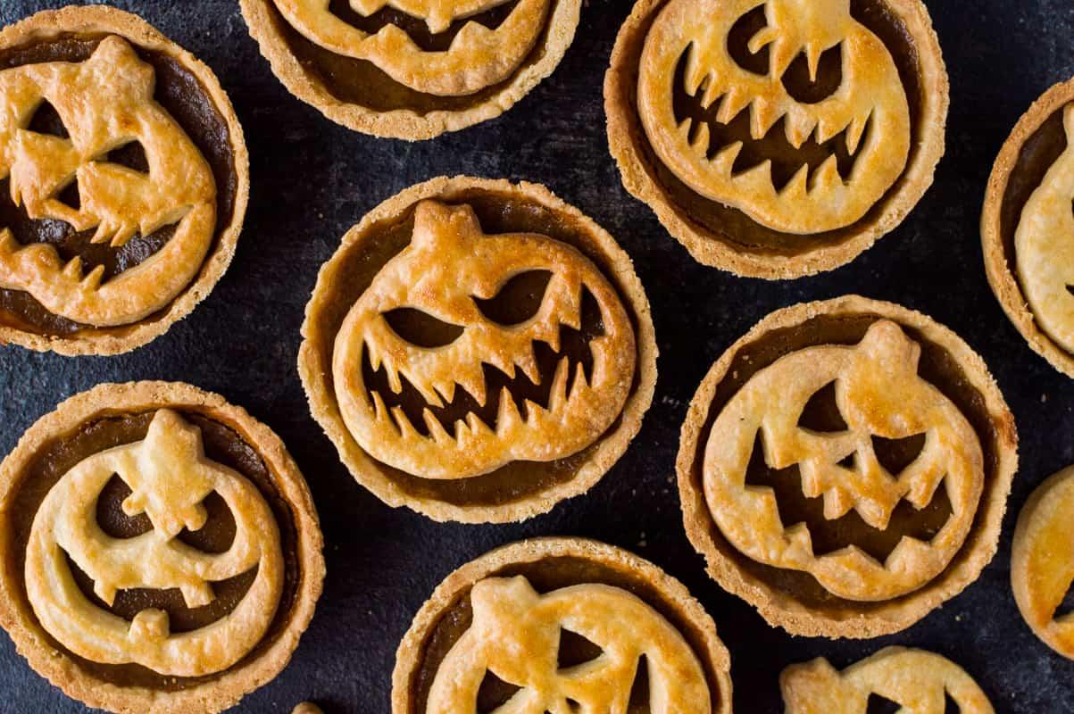 Halloween Jack-O-Lantern Pumpkin Pies recipe