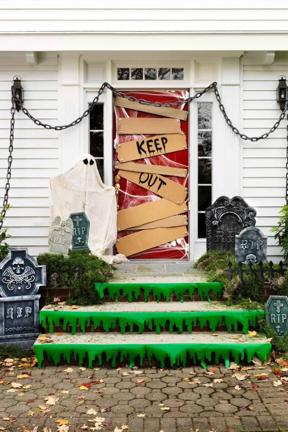 Keep out spooky halloween door decor