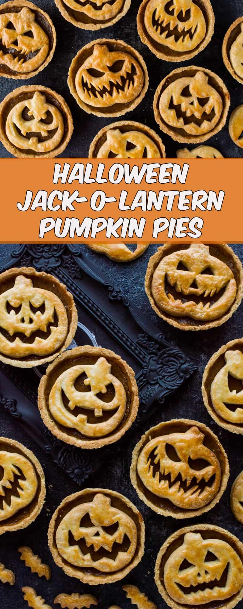 Halloween jack o lantern pumpkin pies - impress your guests with these spooky treats!