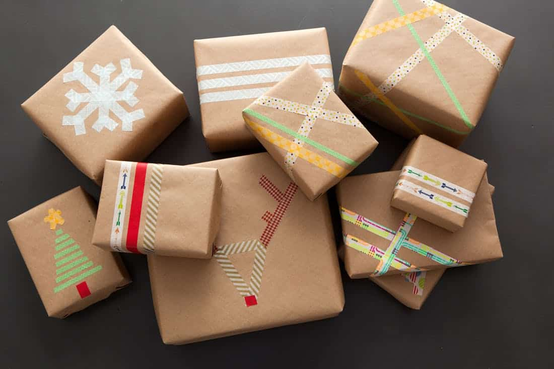Washi tape christmas wrapping