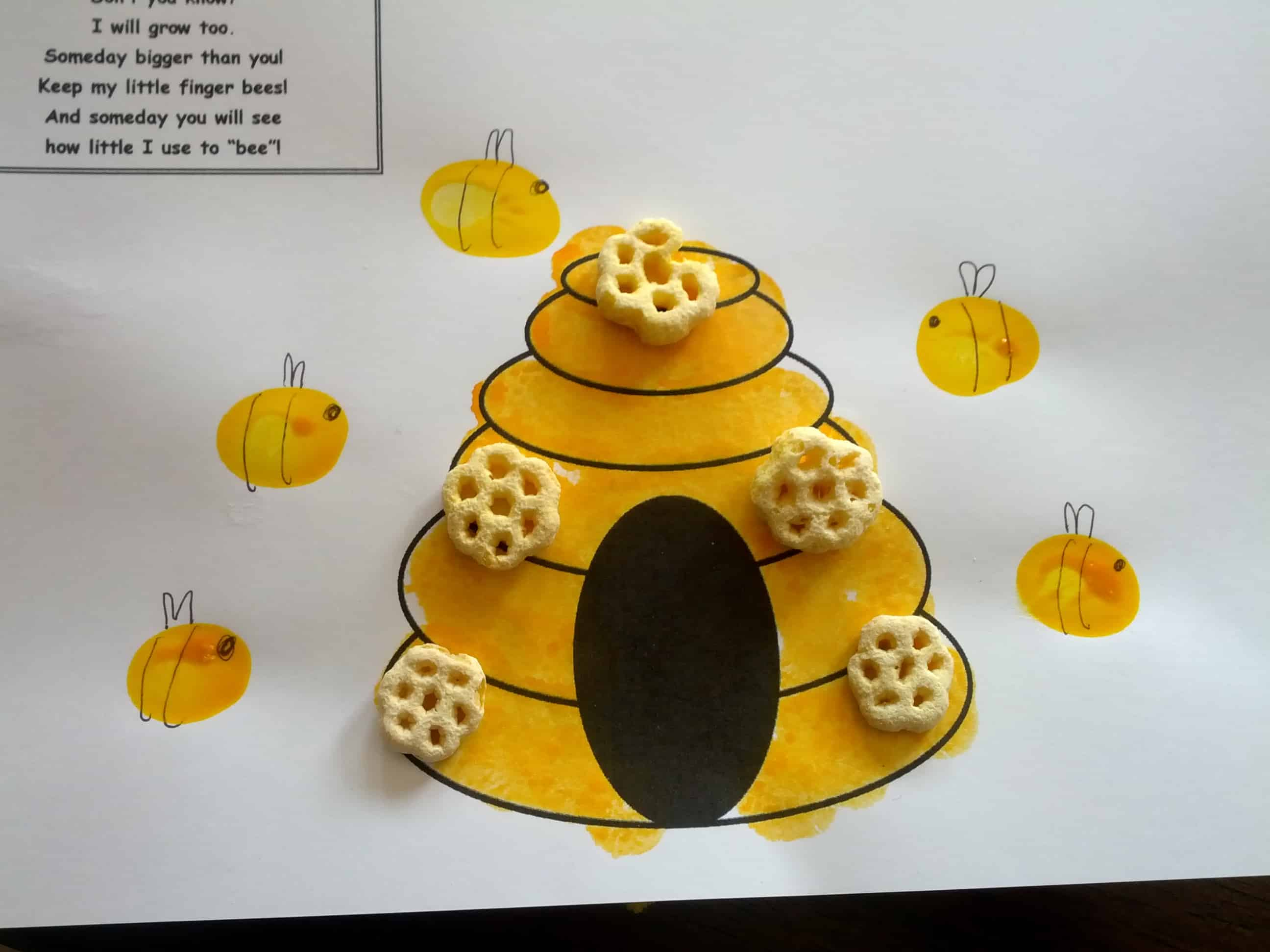 Beehive craft with honeycomb cereal