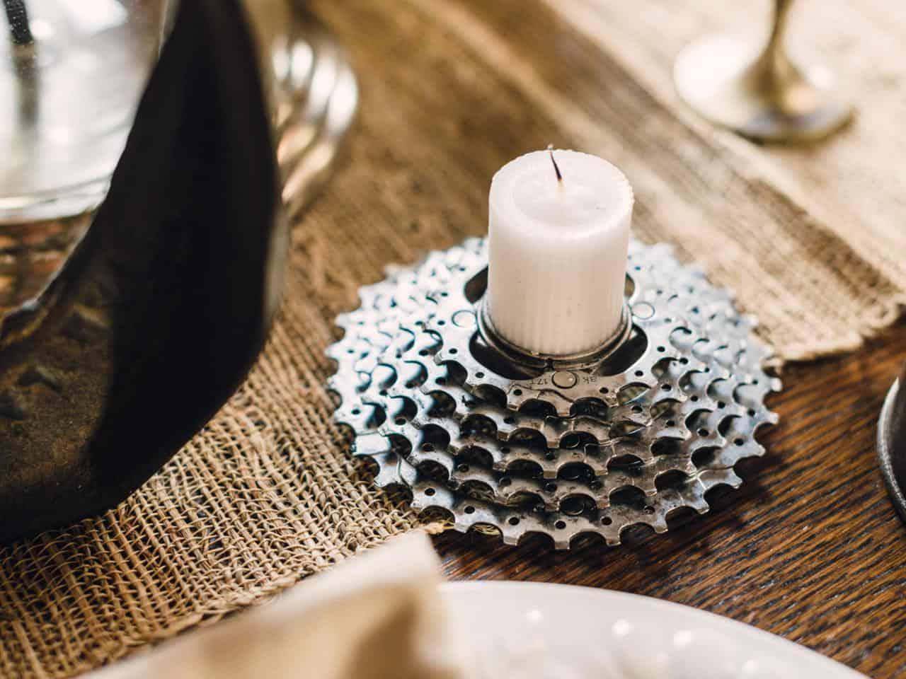 Biking gears candle holder