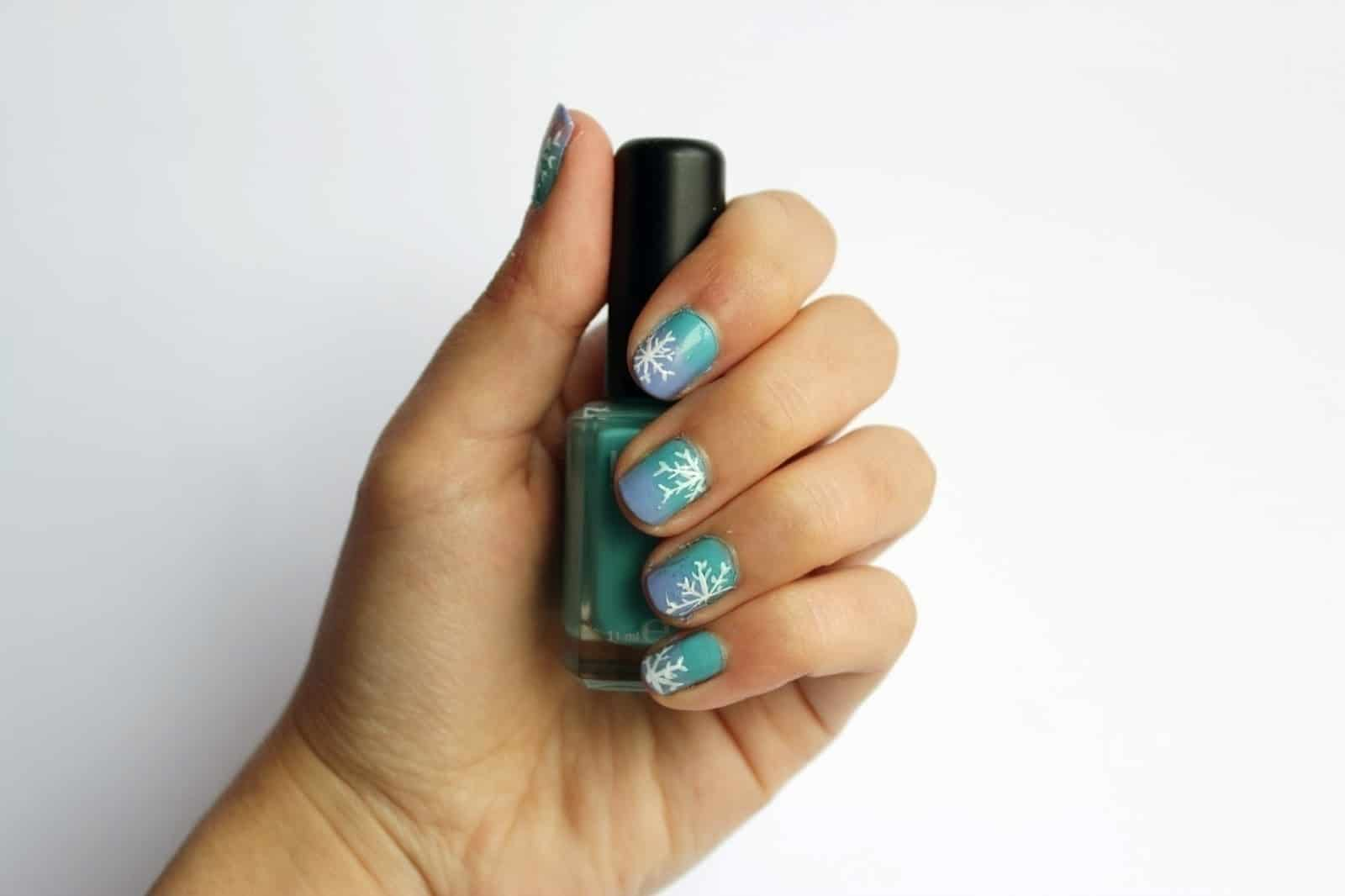 Blue ombre with white snowflakes