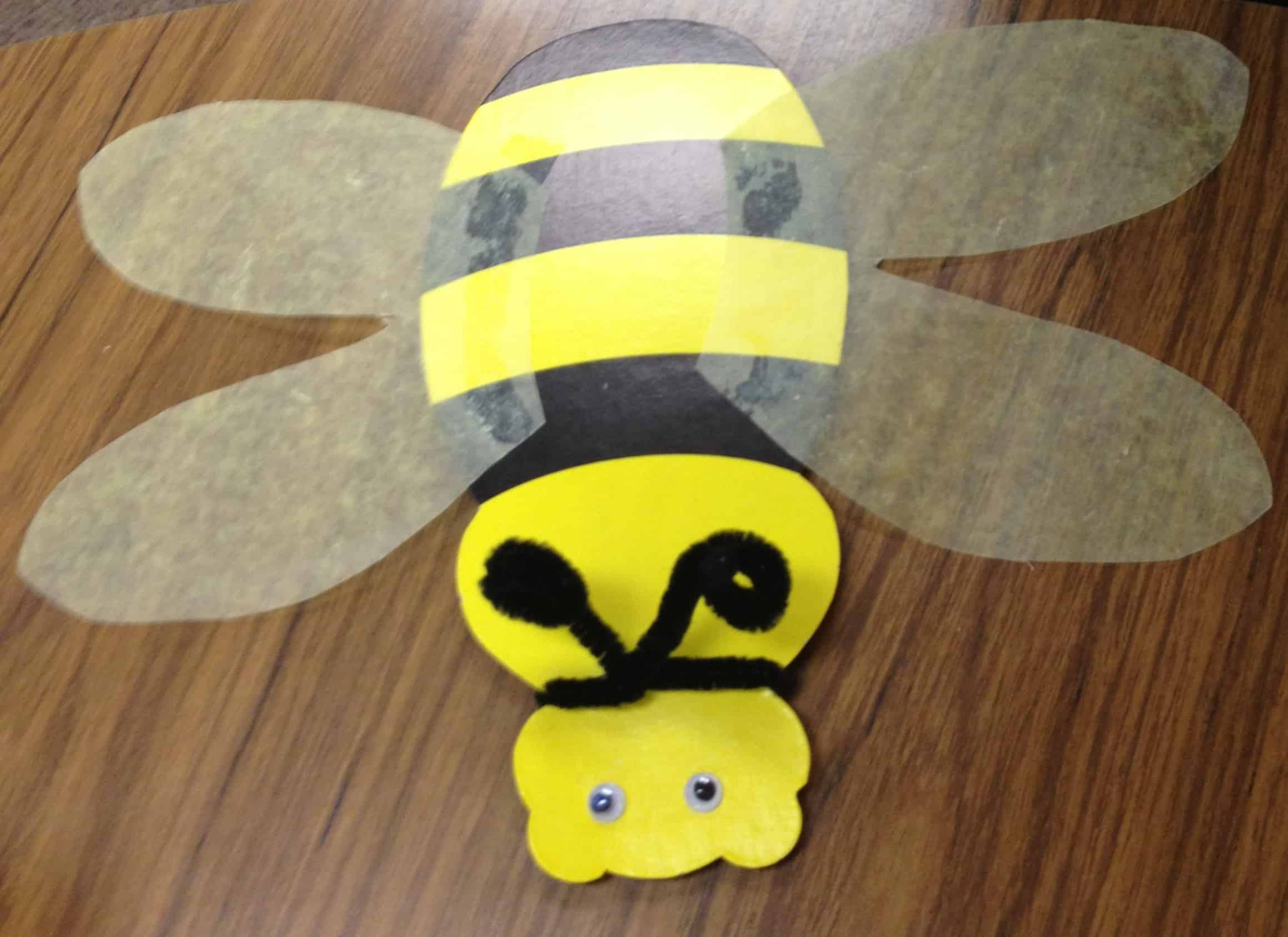 Bumblebee with wax paper wings