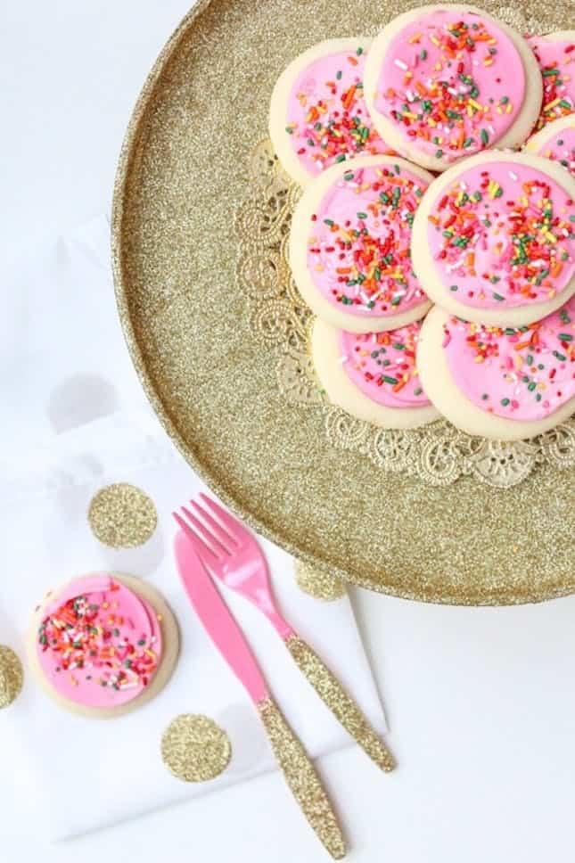 Cake stand utensils glitter diy