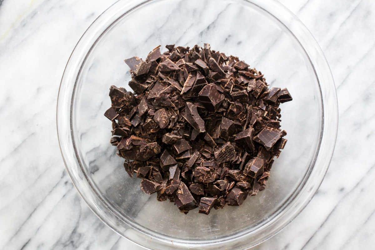 Chocolate truffles chop dark chocolate
