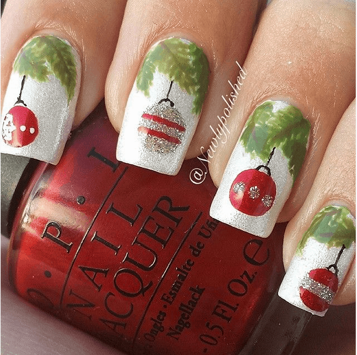 Christmas bobble manicure
